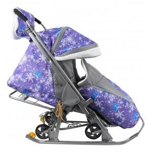 """Складные санки-коляска Snow Galaxy Luxe """"Ёлки фиолетовые"""""""